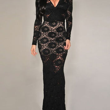 Black Long Sleeve Lace Maxi Dress