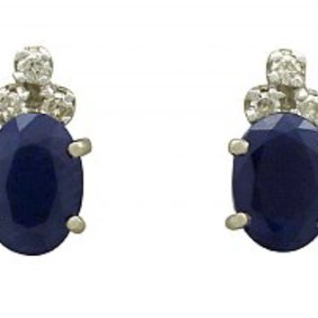 1.82 ct Sapphire and Diamond, 18 ct White Gold Stud Earrings - Vintage Circa 1960