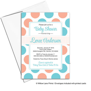 orange and teal baby shower invitations | gender neutral baby shower invites polkadots | printable or printed - WLP00754