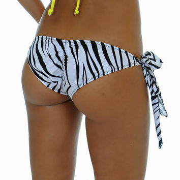 Fine White Zebra Side Tie Scrunched Bottom ONE SIZE by SweetTCo