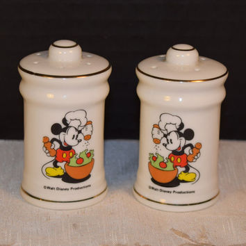 Mickey Mouse Salt & Pepper Shakers Vintage Disney Souvenir Set Made in Japan Walt Disney Productions Keepsake Americana Collectible