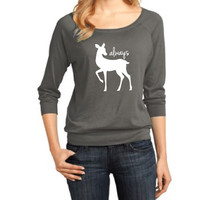 Harry Potter Inspired Clothing - Always Doe Raglan 3/4 Length Sleeve - Ladies