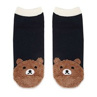Fuzzy Bear Print Ankle Socks