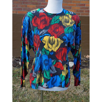 Vintage Silk Blouse 90s Floral Print, Red, Blue, Yellow, Raglan Sleeves, Shoulder Pads, Tailored Waist, Dressy, Career, J.H. Collectibles