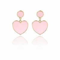LIGHT PINK ENAMEL HEART DROP EARRINGS