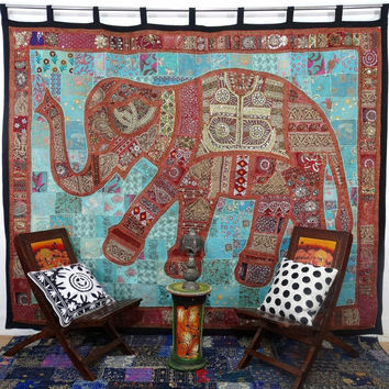 Vintage Huge Sari Patchwork Wall Hanging Elephant Patchwork Tapestry Large Size Patchwork Curtain