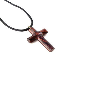 e7eb28a15cf Wooden Cross Necklace, Wood Cross Pendant, Hand Carved Cross, Mens Jewelry,  Mens
