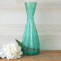 Reserved for B - Thank you!  Green Glass Vase, Colored Glass Bottle