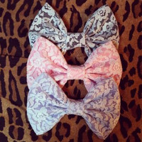 Precious Lace Hairbows by 0ctopusweet on Etsy