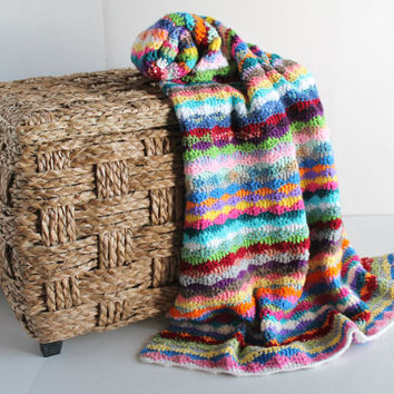 Afghan - Handmade Colorful Crochet Throw