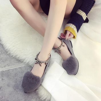 Faux Fur Round Toe Ankle Beads Wrap Flats