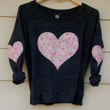 Heart Elbow Patch and Chest Applique Vintage Floral Slouchy Pullover - Charcoal