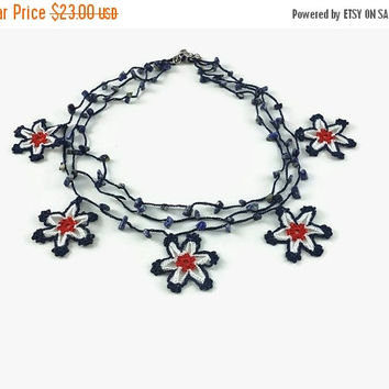 SALE 20% Crochet Necklace Red Blue White Layered Star Necklace Crochet Star Beaded Necklace with Stone Beads Choker 04th of July Knitted tex