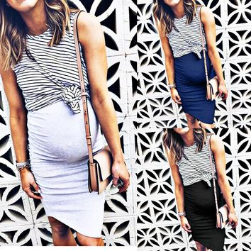 Best selling fashion women's striped irregular fake two-piece dress maternity dress