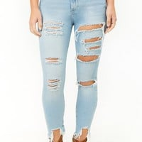 Distressed Sharkbite Skinny Jeans
