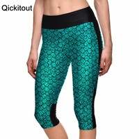 New 2015 Sexy Women's 7 point pants women legging Blue scales sexy mermaid digital print women high waist Side pocket phone pant