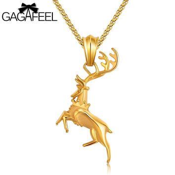 GAGAFFEL Necklaces & Pendants Men Jewelry Stainless Steel Animal Pendants Deer Elk Shape Punk Charm Accessory Gift For Male