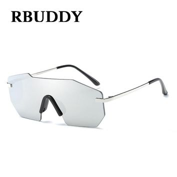 RBUDDY Oversized Hip Hop Rimless Men Women Brand Designer Large Frame Mirror Sunglasses Male UV400 Mirror Sun Glasses Female