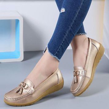 Tassel shoes women big size 4.5-9 genuine leather slip on shoes for women loafers casual shoes round toe ladies shoes sapatilha