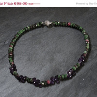 Santa gives you 10% Purple green necklace, handmade beaded semi precious gemstone choker necklace of ruby zoisite, amethyst and silver,  wit