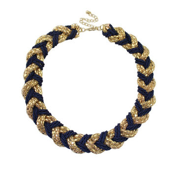 Gold and Navy Blue Braided Necklace