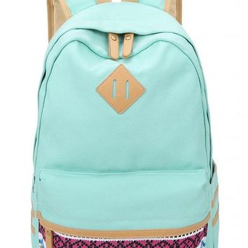 Leaper Casual Lightweight Canvas Laptop Bag Cute School Backpack Travel Bag (Large, Water Blue)