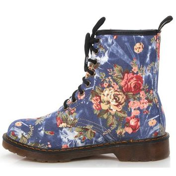 England Vintage Women Martin Boots with Flowers Fabric Upper Round Toe Low Heels Women Ankle Boots Warm Winter Boots XWN0478-5