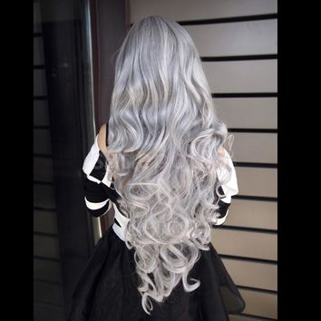Fashion Women Ladies Long Wavy Curly Anime Cosplay Wig Costume Fancy Dress Party Accessory Gray Hair Wig 80cm