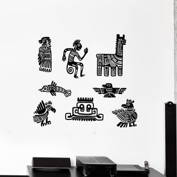Vinyl Wall Decal Ancient Mayan Symbols Aztecs Stickers Murals Unique Gift (ig4842)