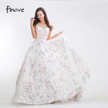 Finove Organza Printing Prom Dresses Sexy See Through Tulle 2017 Autumn New Styles Floor Length Long A-Line Gowns for Party