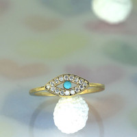Turquoise Evil Eye Ring (3 color) in  gold