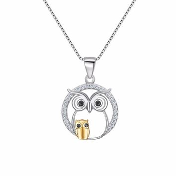 Bella 925 Sterling Silver Animal Mother And Child Night Owl Bridal Pendant Necklace Cubic Zircon Charm Necklace Wedding Party