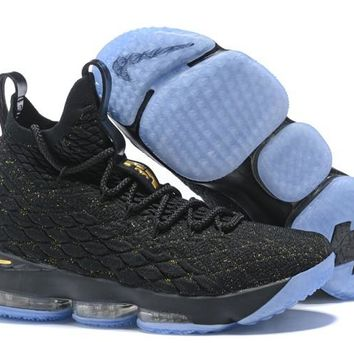New Nike Lebron 15 Black And Gold Basketball Shoes - Beauty Ticks