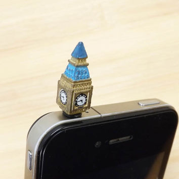 London Style Mini Big Ben Anti Dust Plug 3.5mm Smart Phone Dust Stopper Earphone Cap Dustproof Plug Charms for iPhone 4 4S 5 HTC, Samsung