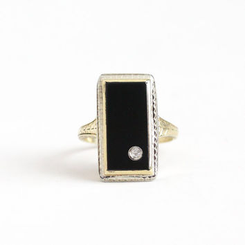 Antique Art Deco 10K Yellow & White Gold Black Onyx Diamond Ring - Vintage 1930s Size 5 1/2 Black Gemstone Rectangular Etched Fine Jewelry