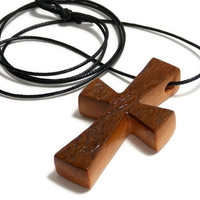 Barnwood Cross, Men's Necklace, Minimalist Cross Pendant,  Medium Cross Necklace, Gifts Under 20