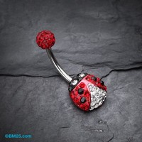 Adorable Lady Bug Tiffany Inspired Belly Button Ring