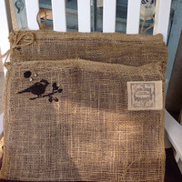 Burlap rustic mail holder, farmhouse decor, mud room decor, rustic mail holder