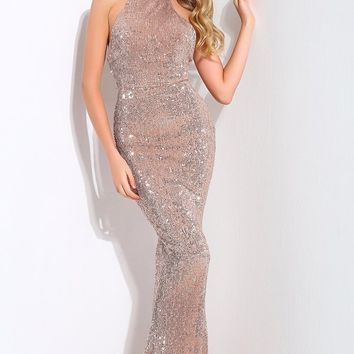 Winning Hearts Champagne Sequin Sleeveless Mock Neck Halter Mermaid Maxi Dress Evening Gown