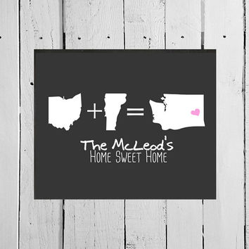 Personalized Housewarming Gift for New Home, United States Map Chalkboard Poster, Chalkboard Print for Newlyweds, Unique Family Gift Couples