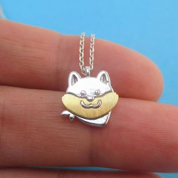 Cute Shiba Inu Akita Wearing a Bandana Shaped Pendant Necklace in Silver