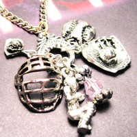 Softball catcher  charm holder Pendant  necklace