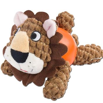 Dog Plush Squeaky Chew Toy Durable Dog Training Biting Playing Toys - Lion
