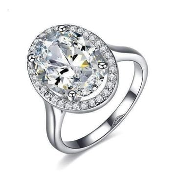ON SALE - Celebrity 6 Carat Oval Engagement Ring in White Gold Plated Halo  Setting Ring 39599fed1