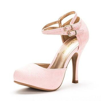 Women's High Heel Pumps Classy Mary Jane Double Ankle Strap Almond Toe