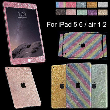 1xBeauty Glitter Bling Decals Crystal Sticker Full Skin Protect Case For Apple iPad 5 air 1 10Color choice