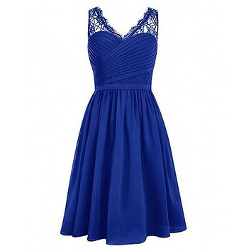 Royal Blue Black V-Neck Lace Chiffon Bridesmaid Dresses Sleeveless Wedding Party Gowns with Side Zip Homecoming Dresses Vestidos