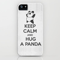 Keep Calm and Hug a Panda iPhone Case by Vortha