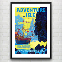 Disneyland Paris Euro Adventure Isle Poster Print --  Attraction Poster Reproduction Home Decor -- Not Framed - Buy 2 Get 1 Free!