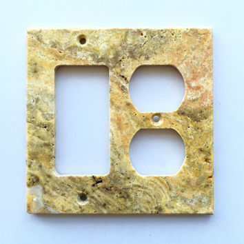 Scabos Travertine Rocker Duplex Switch Wall Plate / Switch Plate / Cover - Honed